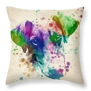 Doberman Splash Throw Pillow