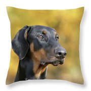 Dobermann Dog, In Autumn Throw Pillow