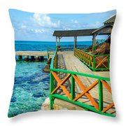 Dock And Tropical Water Throw Pillow