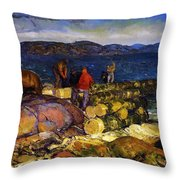 Dock Builders Throw Pillow by George Wesley Bellows
