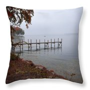 Dock On A Lake In Autumn Throw Pillow