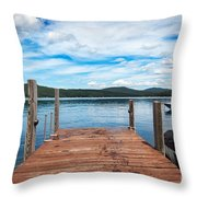 Dock On Summer Lake Throw Pillow