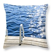 Dock On Summer Lake With Sparkling Water Throw Pillow