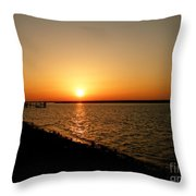Dock On The Bay Sunset Throw Pillow