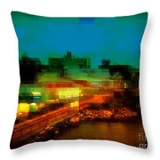 Dock On The East River - New York Throw Pillow
