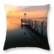 Dock On The Sunset Sound Throw Pillow