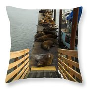 Dock Sea Lions Astoria Or 1 A Throw Pillow