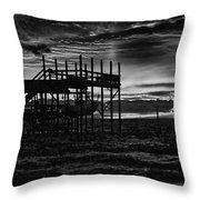 Dock Sunset Bw1 Throw Pillow