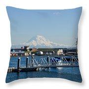 Dock View Of Mt. Rainier Throw Pillow