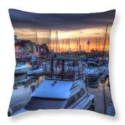Docked At Sundown Throw Pillow