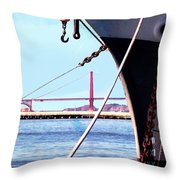 Docked In San Francisco Bay Throw Pillow