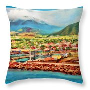 Docked In St. Kitts Throw Pillow