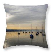 Docked In Zurich Throw Pillow
