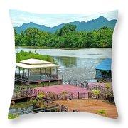 Docking Area On River Kwai In Kanchanaburi-thailand Throw Pillow