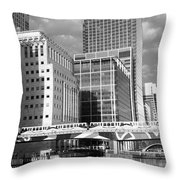 Docklands London Mono Throw Pillow