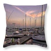 Dockside Sunset In Beaufort South Carolina Throw Pillow by Reid Callaway