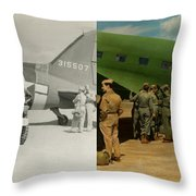 Doctor - 1942 - Delivering Blood - Side Throw Pillow by Mike Savad