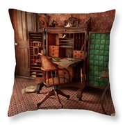 Doctor - Desk - The Physician's Office  Throw Pillow by Mike Savad