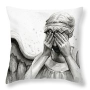 Doctor Who Weeping Angel Don't Blink Throw Pillow by Olga Shvartsur