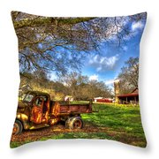 Dodge Dump Truck Farm Barn Scene Throw Pillow
