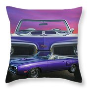 Dodge Rt Double Exposure Purple Sunset Throw Pillow