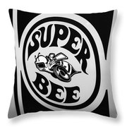 Dodge Super Bee Decal Black And White Picture Throw Pillow