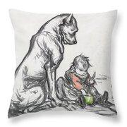 Dog And Child Throw Pillow by Robert Noir