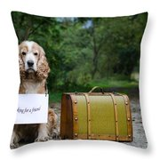 Dog And Suitcase Throw Pillow