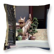 Dog At Temple Throw Pillow