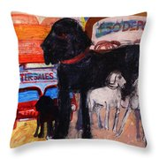 Dog At The Used Car Lot, Rex Gouache On Paper Throw Pillow