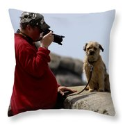 Dog Being Photographed Throw Pillow