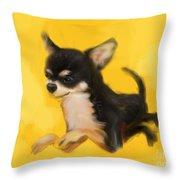 Dog Chihuahua Yellow Splash Throw Pillow