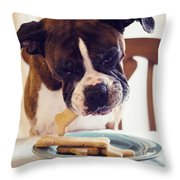 Dog Eating Biscuits At Table Throw Pillow