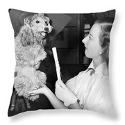 Dog Graduates From School Throw Pillow by Underwood Archives