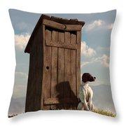 Dog Guarding An Outhouse Throw Pillow