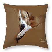 Dog - Mr. Oliver Snoozing Throw Pillow