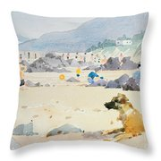 Dog On The Beach Woolacombe Throw Pillow by Lucy Willis