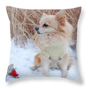 Dog Playing In Snow Throw Pillow