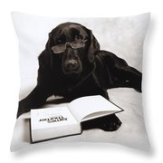Dog Reading James Thurber Throw Pillow