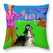Dog Show Competitors Throw Pillow