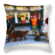 Dog Sleigh Ride Throw Pillow