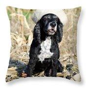 Dog With A Sailor Hat Throw Pillow