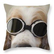 Dog With Eyeglasses Throw Pillow