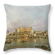 Doges Palace And View Of St. Marks Basin, Venice Oil On Canvas Throw Pillow