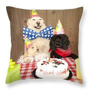 Doggy Birthday Party Throw Pillow by Jan Tyler