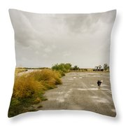 Dogs And Truck On A Muddy Dirt Road Throw Pillow