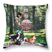 Dogs Lay At Her Feet Throw Pillow