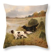 Dogs On The Scent Throw Pillow