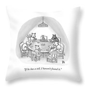 Dogs Playing Poker Refer Angrily To A Cat Who Throw Pillow by Paul Noth