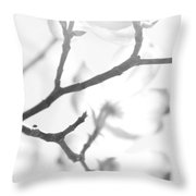 Dogwood Blossoms Black And White Throw Pillow